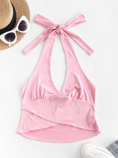 Halter Tulip-hem Crop Tank Top - Light Pink S