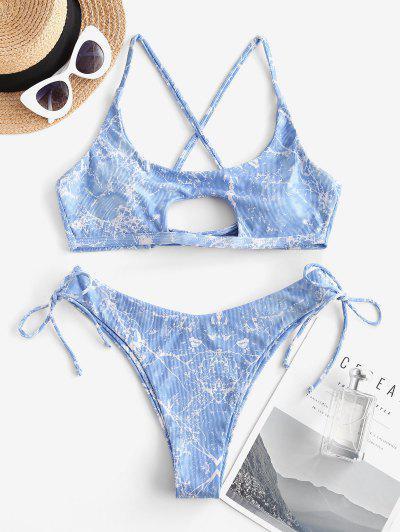 ZAFUL Gerippte Bikini Badebekleidung Mit Marmordruck - Blau S
