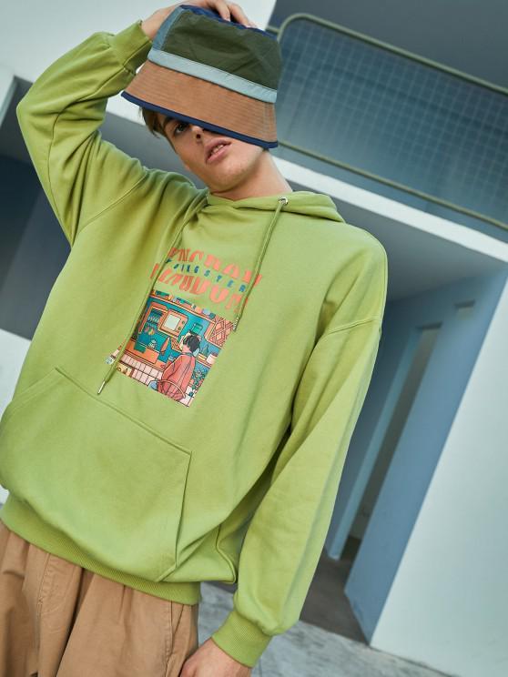 Sudadera con Capucha Casual con Bolsillo de Gráfico - Verde claro XL