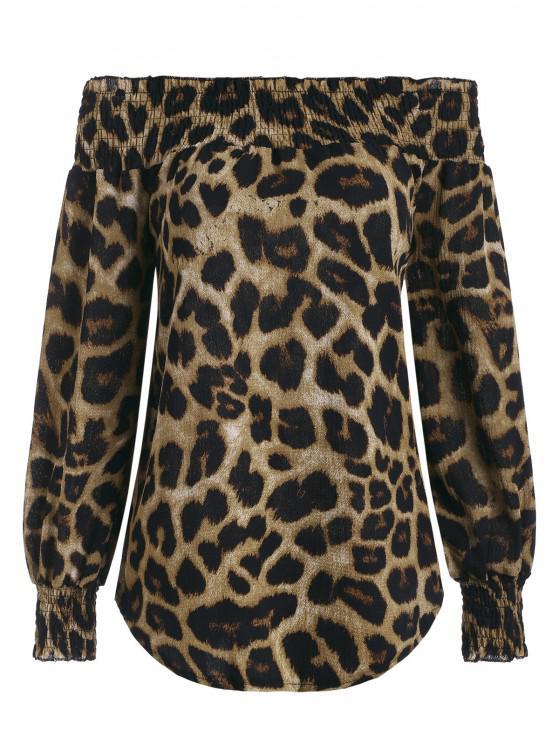 women Leopard Off Shoulder Round Hem Smocked Blouse - COFFEE L