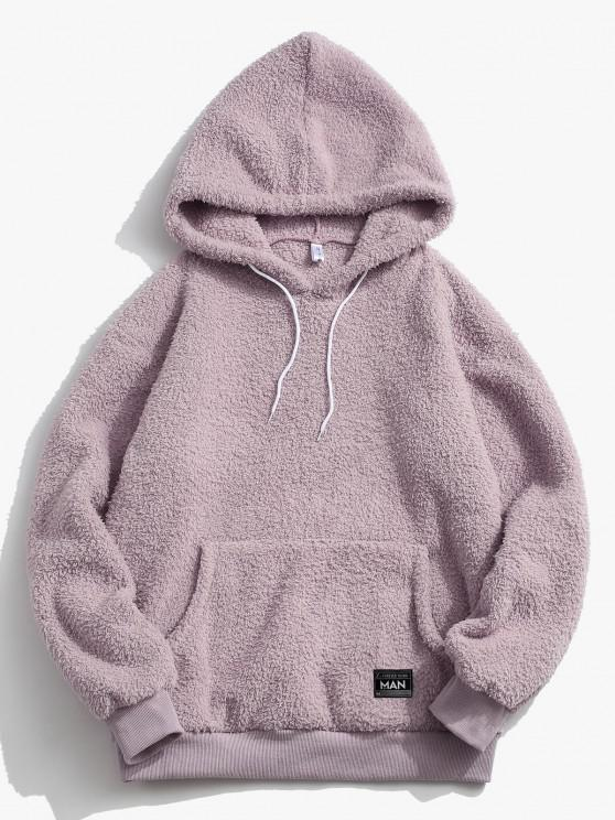 Kangaroo Pocket Applique Detail Teddy Hoodie - ضوء ارجواني L