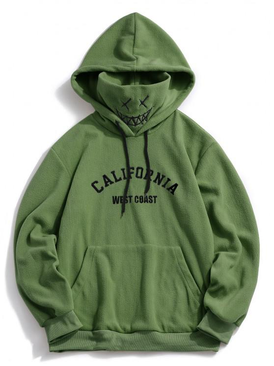 best ZAFUL Letter Graphic Embroidered Fleece Mask Hoodie - DEEP GREEN S