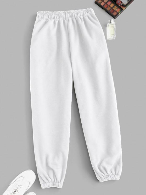 outfit Fleece Lined Pocket Beam Feet High Rise Pants - WHITE S