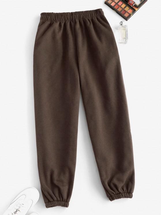 Pantalon Taille Haute à Doublure en Laine avec Poche à Pieds Etroits - Café profond S