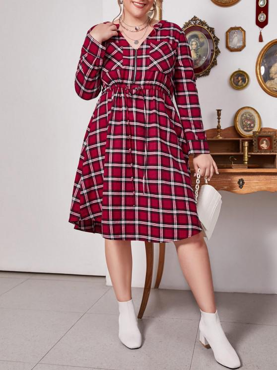 lady Plus Size Plaid V Notch Drawstring Roll Up Sleeve Dress - LAVA RED L