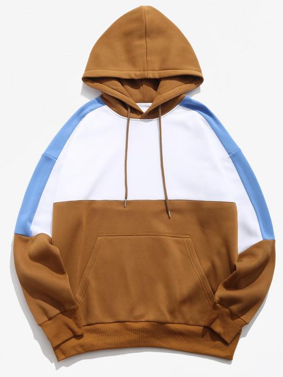 best Colorblock Panel Drop Shoulder Fleece-lined Hoodie - WHITE M