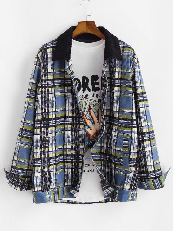 Plaid Pattern Faux Fur Collar Button Up Jacket - أزرق 2XL