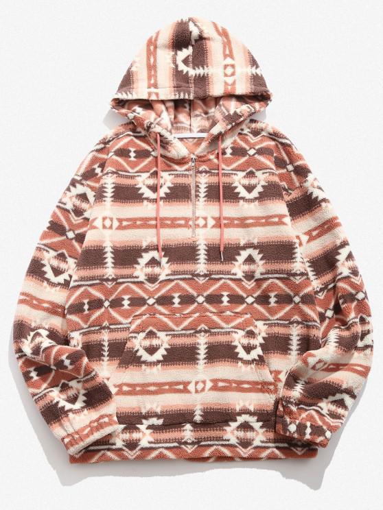 affordable Tribal Geo Pattern Quarter Zip Fleece Hoodie - MULTI XL
