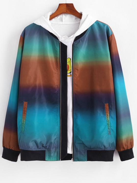 unique Zip Up Ombre Print Jacket - MULTI S