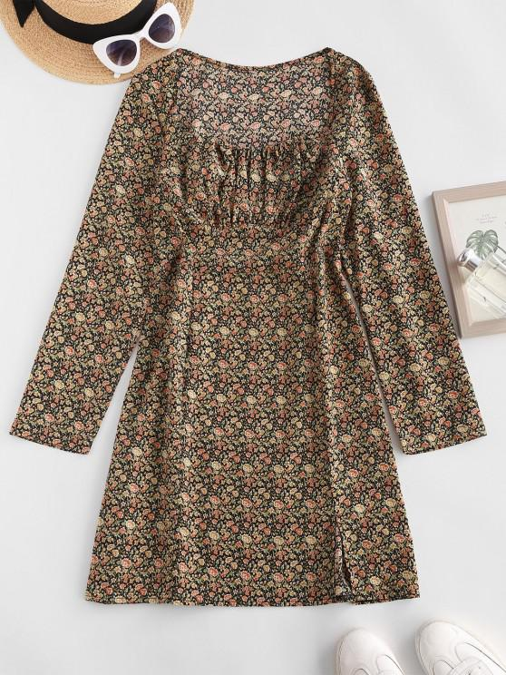 outfit ZAFUL Floral Ruched Detail Long Sleeve Dress - MULTI L