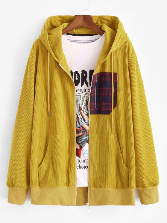 shop Plaid Zipper Patch Corduroy Hooded Jacket - YELLOW L