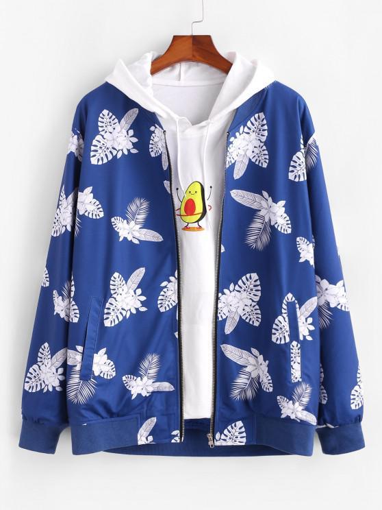 Chaqueta Estampado de Flores Tropicales Cremallera - Azul 2XL
