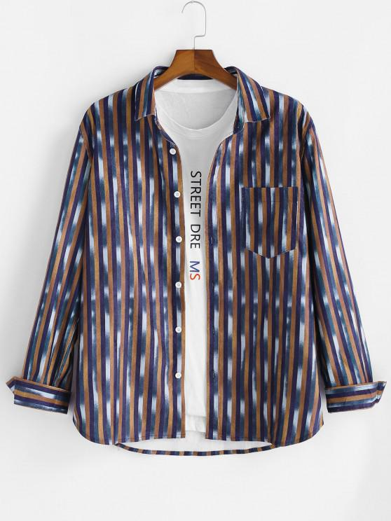 new Striped Pattern Pocket Button Up Long Sleeve Shirt - MULTI L