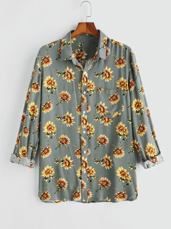 Flower Chest Pocket Long Sleeve Shirt - اللون الرمادي 2XL