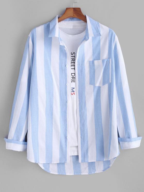 women Colorblock Striped Long Sleeve Pocket Button Up Shirt - LIGHT BLUE 3XL