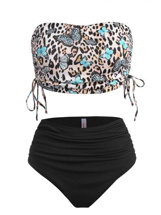 lady ZAFUL Plus Size Ribbed Butterfly Leopard Print Cinched Tankini Swimwear - BLACK XXL