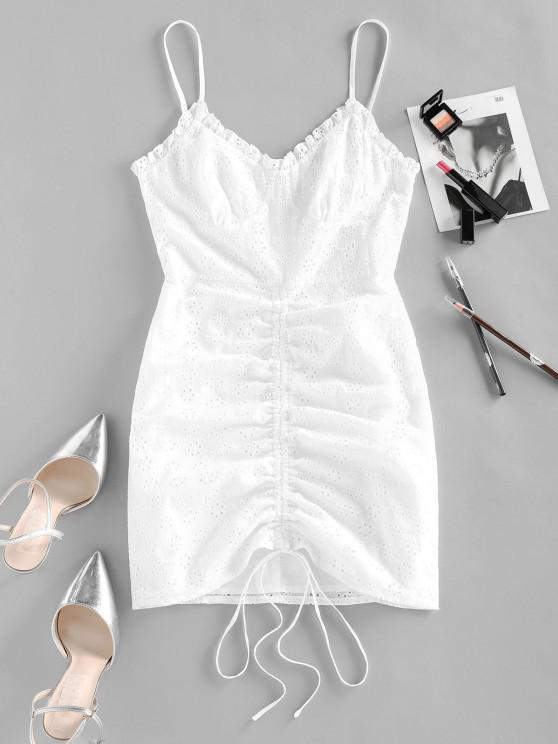 women's ZAFUL Broderie Anglaise Cinched Tie Ruched Cami Dress - WHITE S