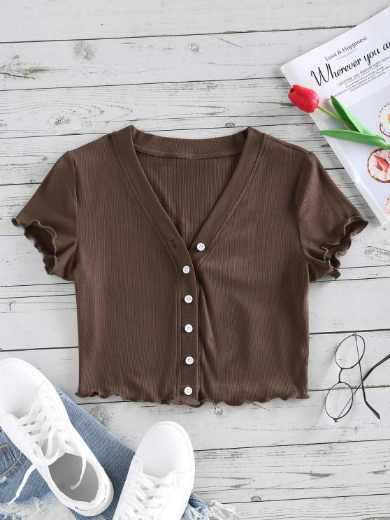 womens ZAFUL Lettuce Trim Button Up Ribbed Cropped Tee - DEEP BROWN S