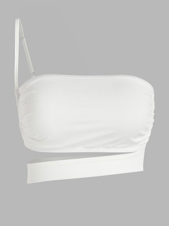 women ZAFUL One Shoulder Cutout Crop Top - WHITE L
