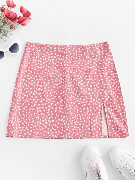 shops Speckled Print Slit Mini Skirt - LIGHT PINK M