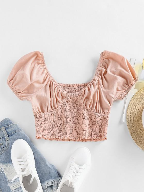 affordable ZAFUL Smocked Puff Sleeve Ruffle Crop Blouse - LIGHT PINK M