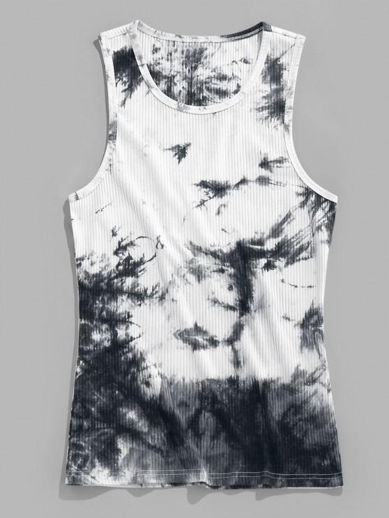 hot ZAFUL Tie Dye Print Ribbed Tank Top - BLACK M