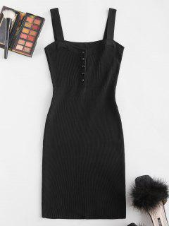 Ribbed Button Placket Bodycon Tank Dress - Black