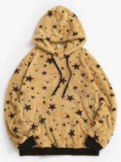 Drawstring Front Pocket Fluffy Star Hoodie - Yellow L