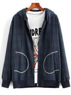 Plaid Stitching Pocket Hooded Jacket - Deep Blue 2xl