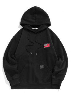ZAFUL American Flag Badge Patch Fleece Lined Hoodie - Black L
