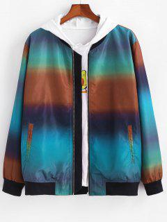 Zip Up Ombre Print Jacket - Multi M