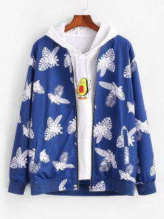 Tropical Leaf Flower Print Zip Up Jacket - Blue Xl