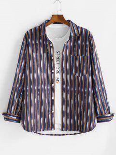 Striped Pattern Pocket Button Up Long Sleeve Shirt - Multi L