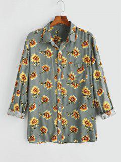 Flower Chest Pocket Long Sleeve Shirt - Gray S
