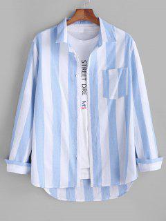 Colorblock Striped Long Sleeve Pocket Button Up Shirt - Light Blue Xl