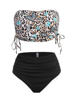 ZAFUL Plus Size Ribbed Butterfly Leopard Print Cinched Tankini Swimwear - Black Xl