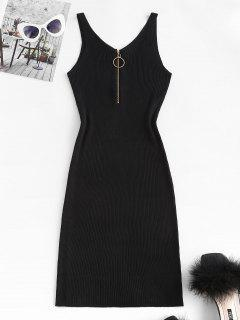 Ribbed O Ring Zip V Neck Bodycon Dress - Black