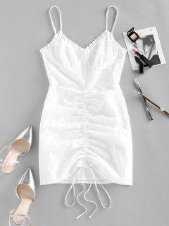 ZAFUL Broderie Anglaise Cinched Tie Ruched Cami Dress - White M