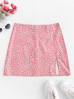 Speckled Print Slit Mini Skirt - Light Pink M