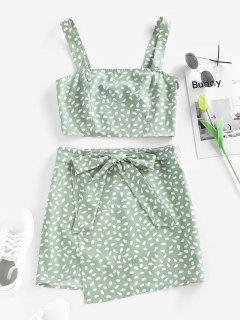 ZAFUL Speckled Smocked Belted Mini Overlap Skirt Set - Light Green Xl