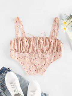 ZAFUL Ditsy Print Ruched Bust Bowknot Corset Top - Light Pink S