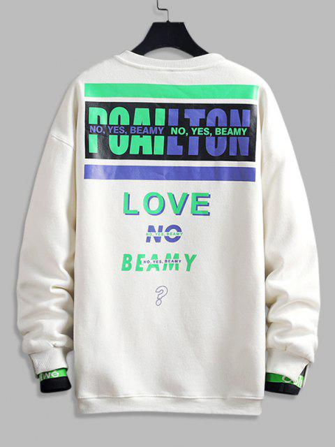 outfit Love No Beamy Letter Contrast Fleece Lined Sweatshirt - WHITE XL Mobile