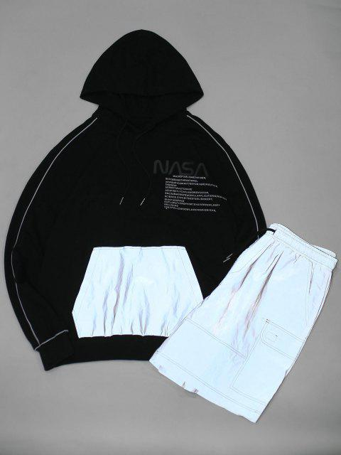 affordable ZAFUL Letter Graphic Fluorescent Colorblock Hoodie And Shorts - BLACK S Mobile