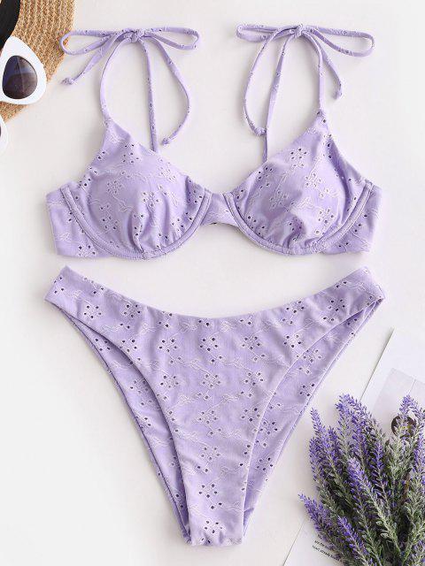 Costume da Bagno Bikini Ruvido di ZAFUL con Spalline Intrecciate con Buco Della Serratura a Taglio Alto - Viola chiaro M Mobile