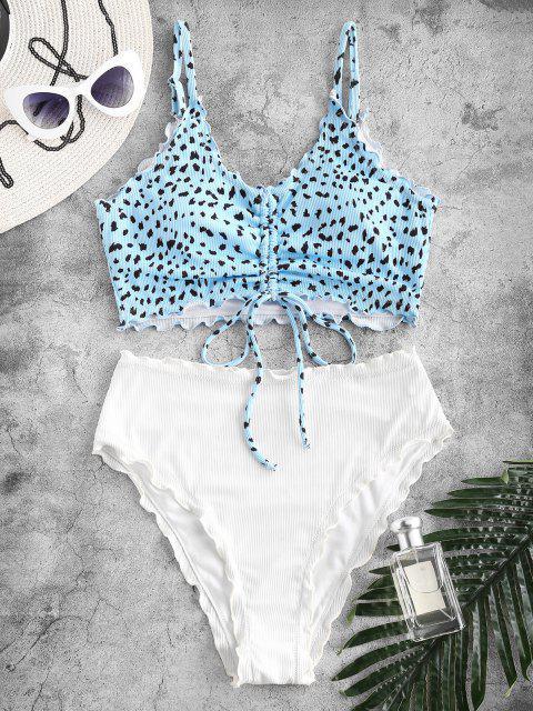 fashion Kasey Rayton X ZAFUL Ribbed Leopard Cinched Lettuce Trim Tankini Swimwear - LIGHT BLUE M Mobile