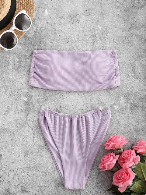 ladies Kasey Rayton X ZAFUL Clear Strap Ribbed Bikini Swimwear - LIGHT PURPLE M Mobile