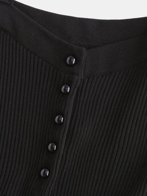 Carcela de Botão com Nervuras Vestido Bodycon - Preto Um Tamanho Mobile