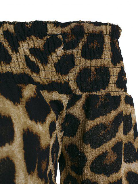lady Leopard Off Shoulder Round Hem Smocked Blouse - COFFEE M Mobile