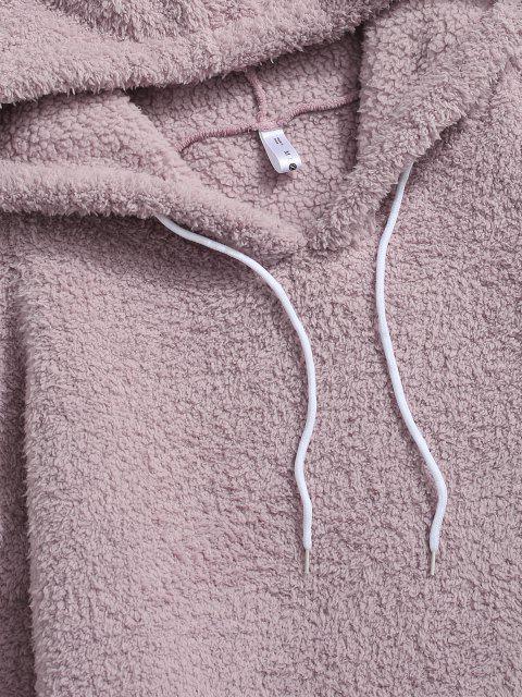 lady Kangaroo Pocket Applique Detail Teddy Hoodie - LIGHT PURPLE S Mobile