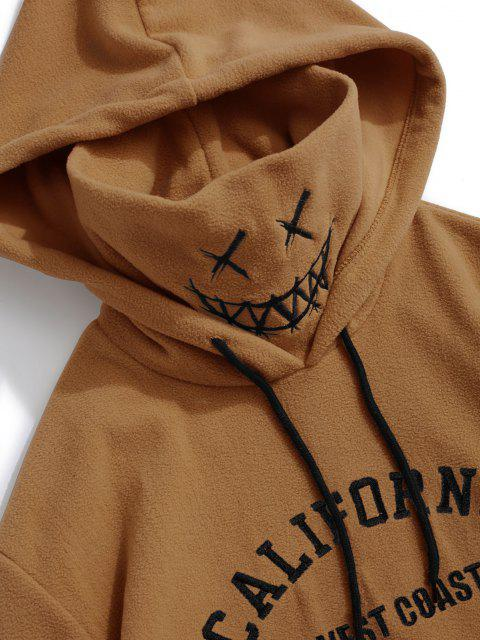 chic ZAFUL Letter Graphic Embroidered Fleece Mask Hoodie - COFFEE M Mobile